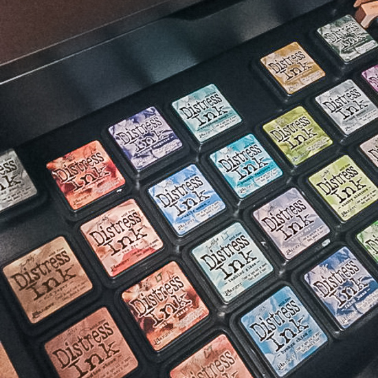 A drawer of Distress Ink LOVE