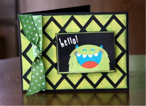 monster hello card